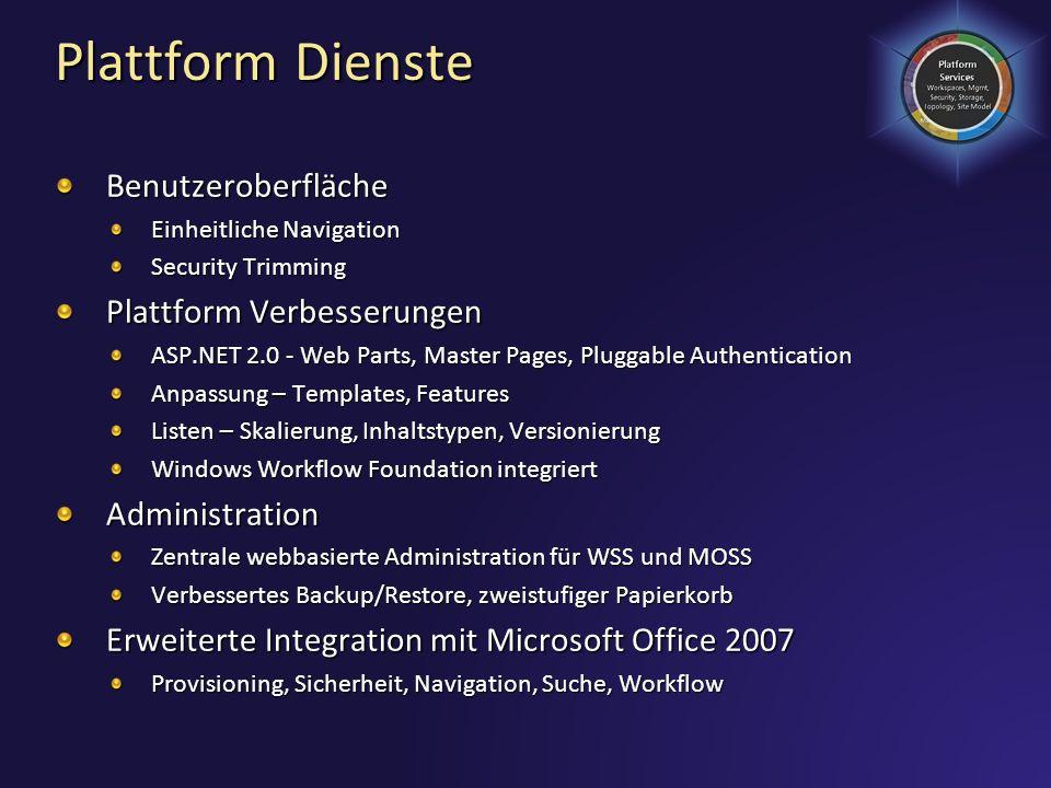 Plattform Dienste Benutzeroberfläche Plattform Verbesserungen