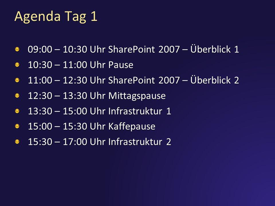 Agenda Tag 1 09:00 – 10:30 Uhr SharePoint 2007 – Überblick 1