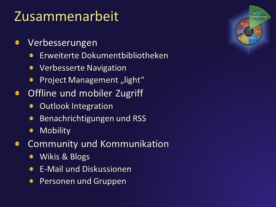 Zusammenarbeit Verbesserungen Offline und mobiler Zugriff