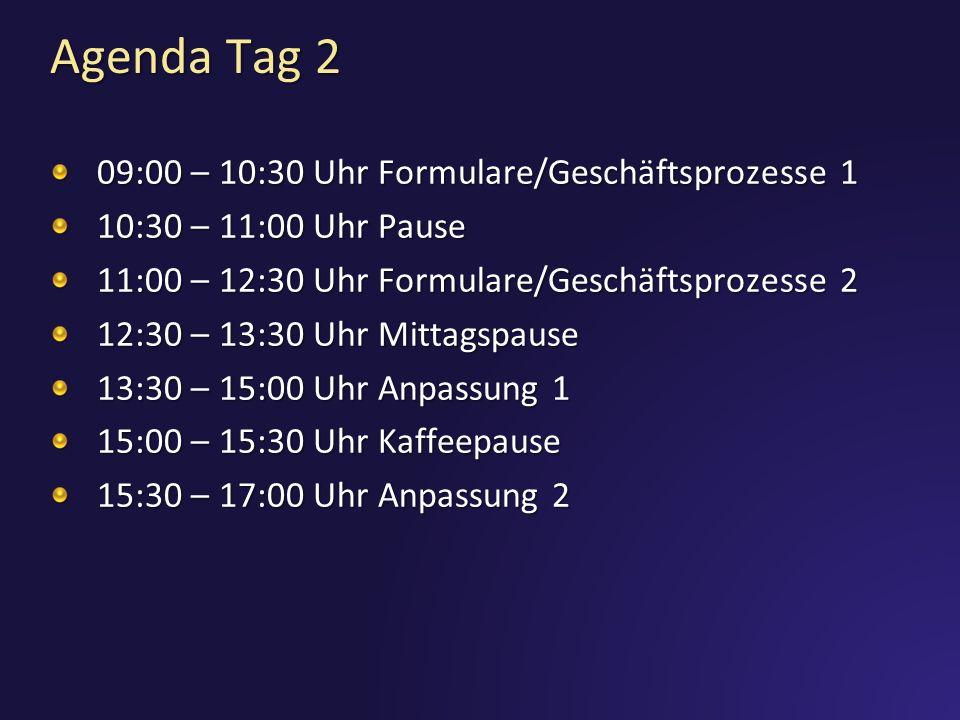 Agenda Tag 2 09:00 – 10:30 Uhr Formulare/Geschäftsprozesse 1
