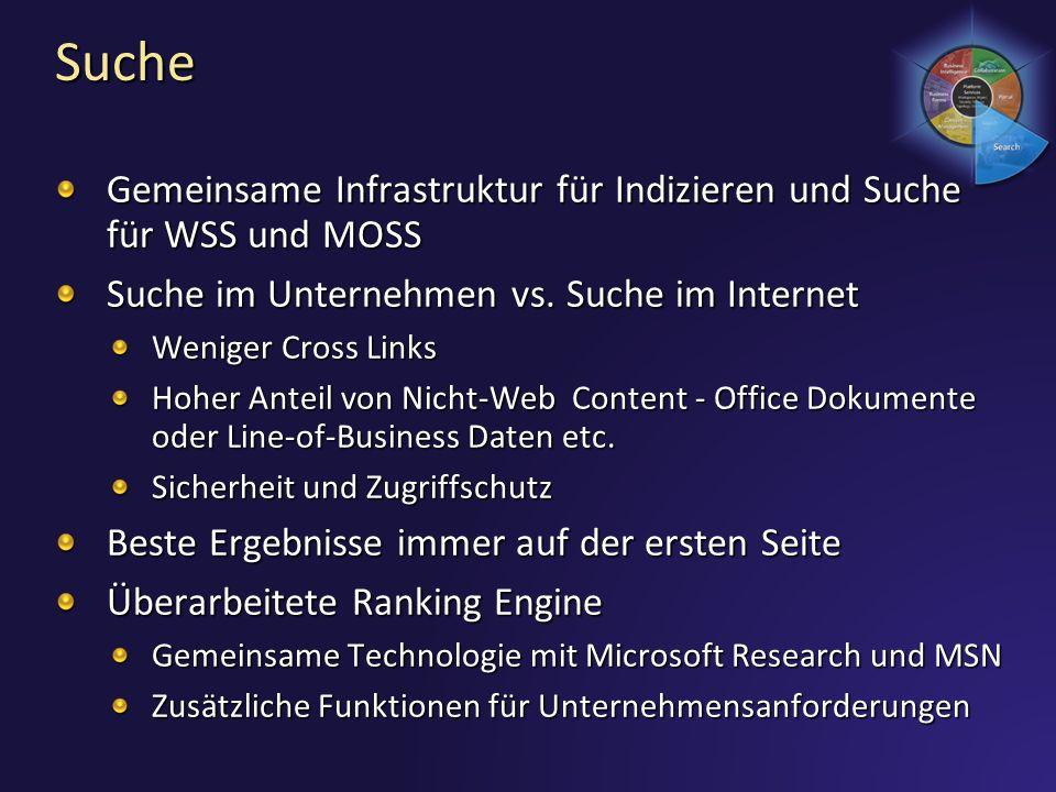3/28/2017 7:01 PM Suche. Gemeinsame Infrastruktur für Indizieren und Suche für WSS und MOSS. Suche im Unternehmen vs. Suche im Internet.