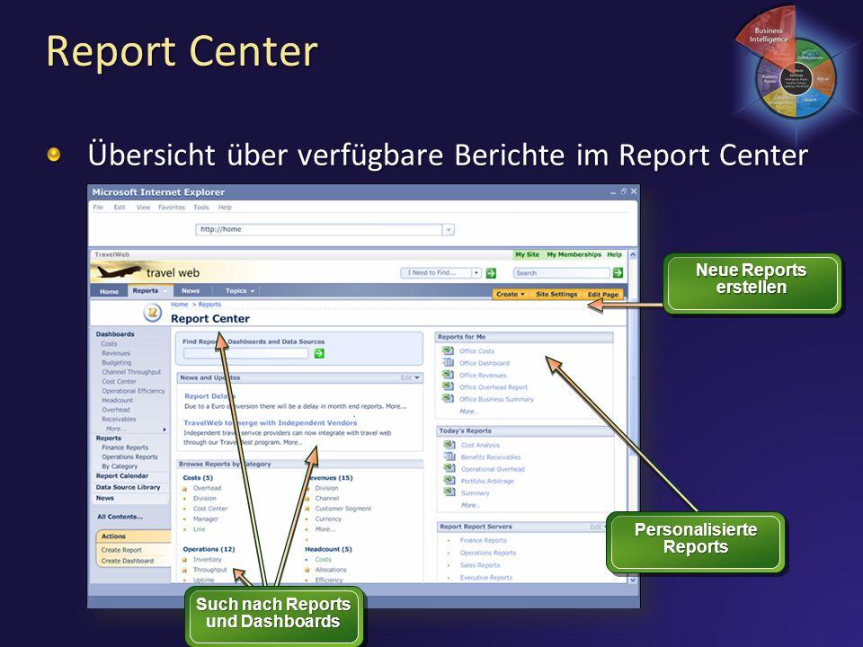 Report Center Übersicht über verfügbare Berichte im Report Center