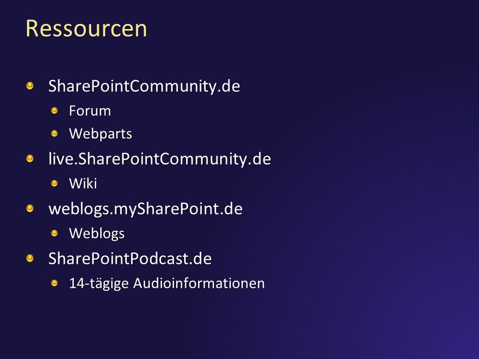 Ressourcen SharePointCommunity.de live.SharePointCommunity.de