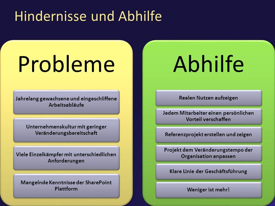 Hindernisse und Abhilfe