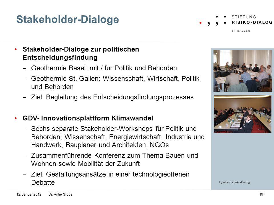 Stakeholder-Dialoge Stakeholder-Dialoge zur politischen Entscheidungsfindung. Geothermie Basel: mit / für Politik und Behörden.