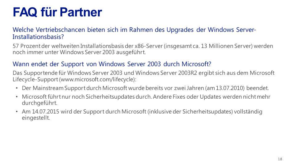 FAQ für Partner Welche Vertriebschancen bieten sich im Rahmen des Upgrades der Windows Server- Installationsbasis