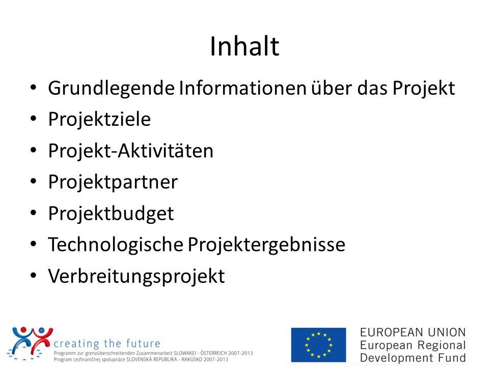 Inhalt Grundlegende Informationen über das Projekt Projektziele