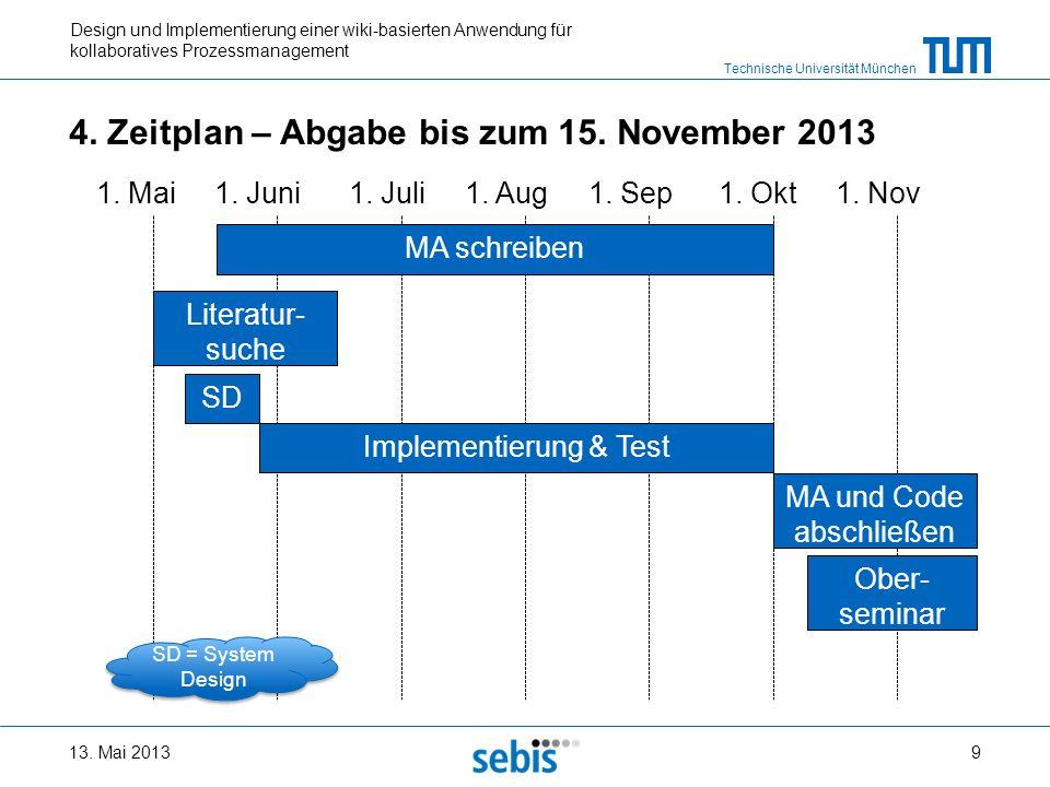 4. Zeitplan – Abgabe bis zum 15. November 2013