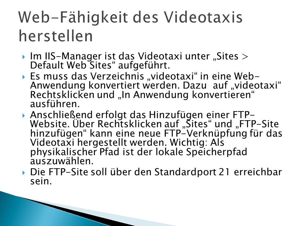 Web-Fähigkeit des Videotaxis herstellen