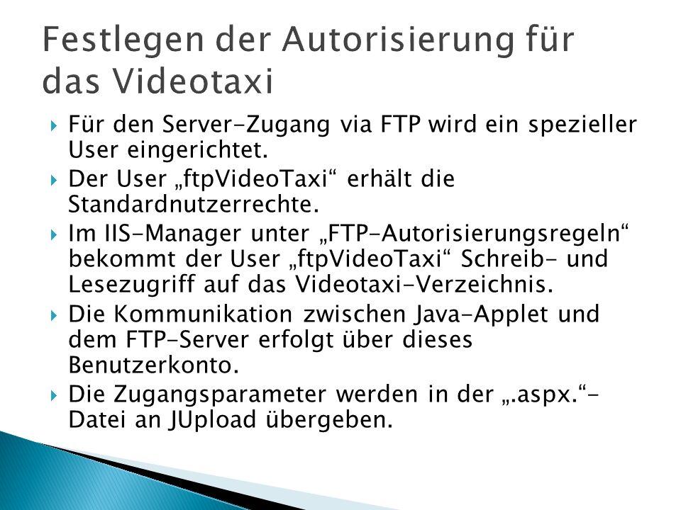 Festlegen der Autorisierung für das Videotaxi
