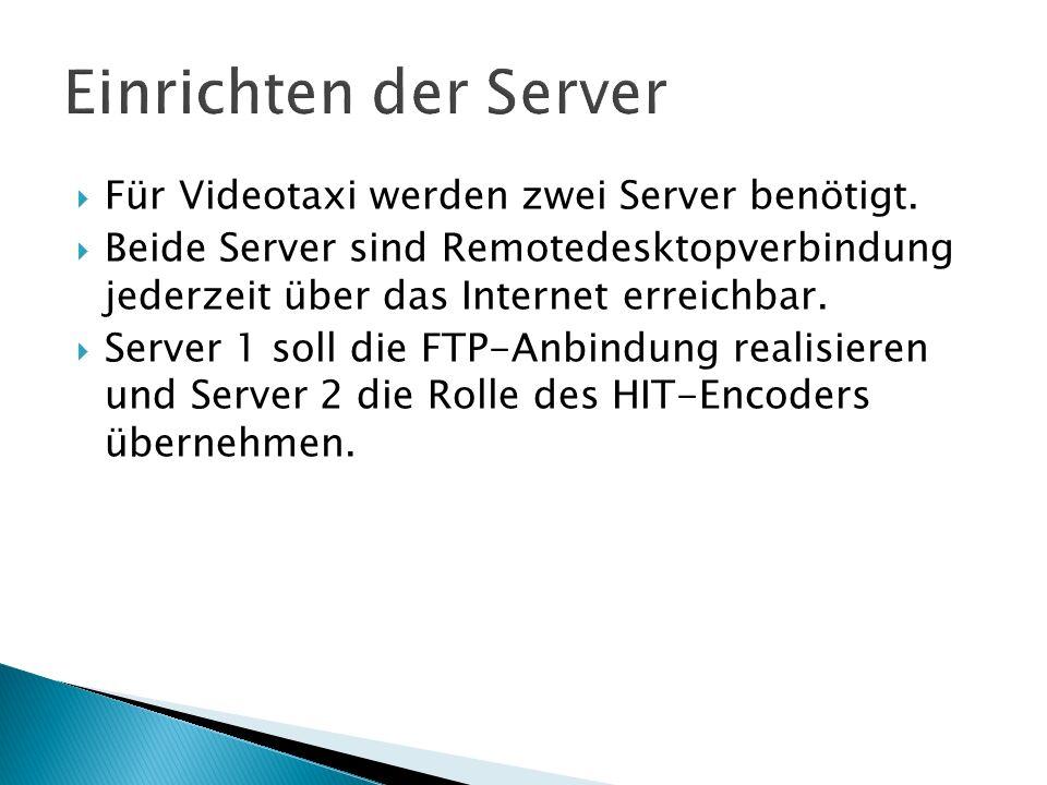 Einrichten der Server Für Videotaxi werden zwei Server benötigt.
