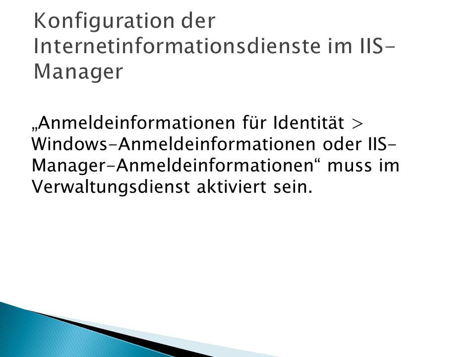 Konfiguration der Internetinformationsdienste im IIS-Manager
