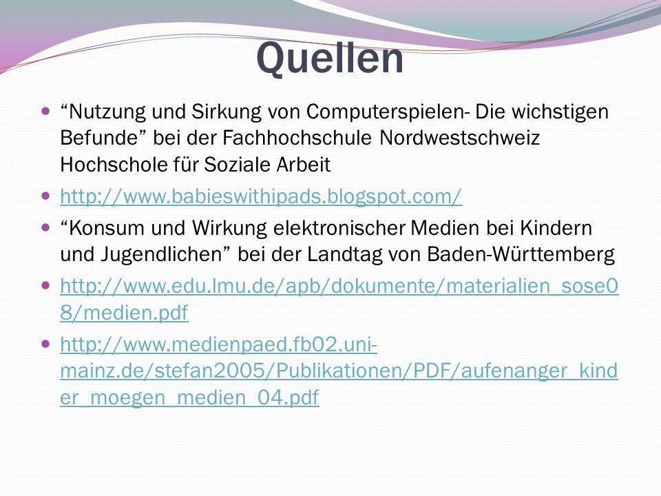 Quellen Nutzung und Sirkung von Computerspielen- Die wichstigen Befunde bei der Fachhochschule Nordwestschweiz Hochschole für Soziale Arbeit.