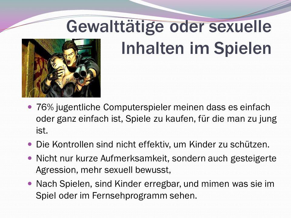 Gewalttätige oder sexuelle Inhalten im Spielen