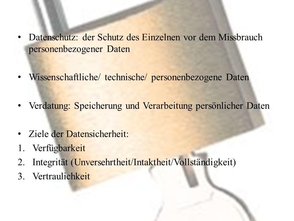 Datenschutz: der Schutz des Einzelnen vor dem Missbrauch personenbezogener Daten