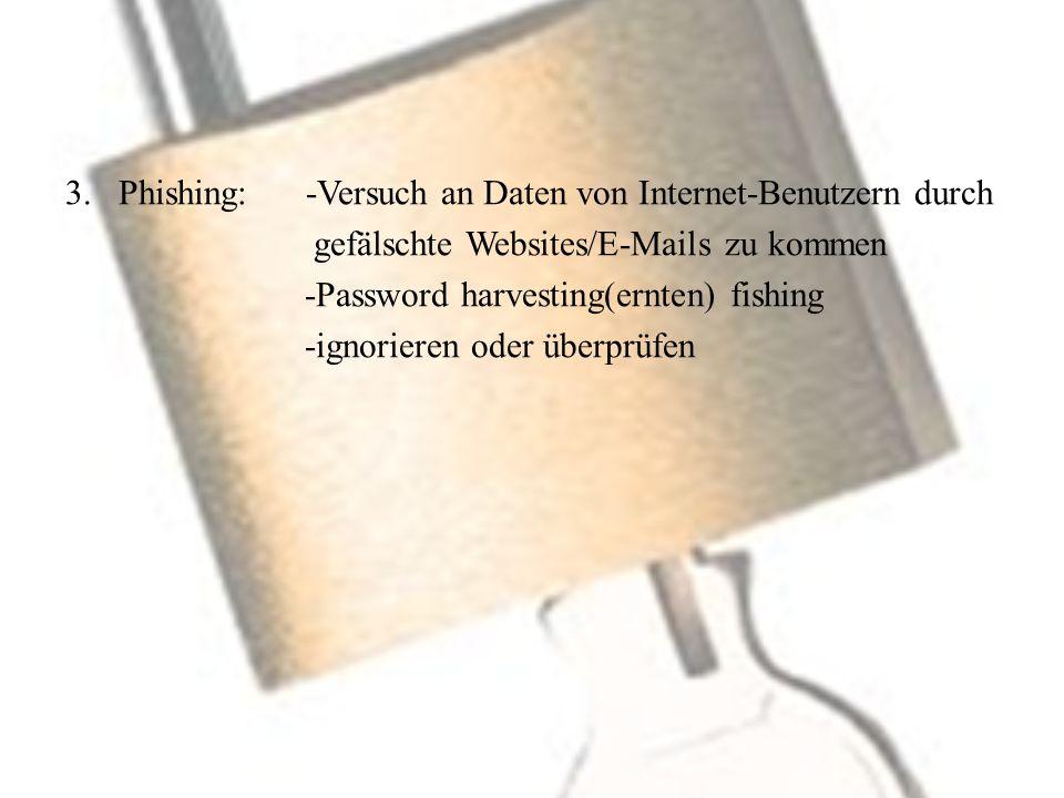 Phishing: -Versuch an Daten von Internet-Benutzern durch