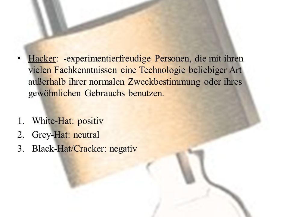 Hacker: -experimentierfreudige Personen, die mit ihren vielen Fachkenntnissen eine Technologie beliebiger Art außerhalb ihrer normalen Zweckbestimmung oder ihres gewöhnlichen Gebrauchs benutzen.