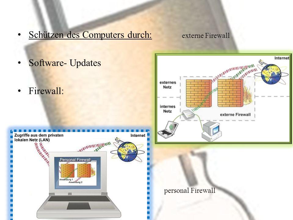 Schützen des Computers durch: externe Firewall