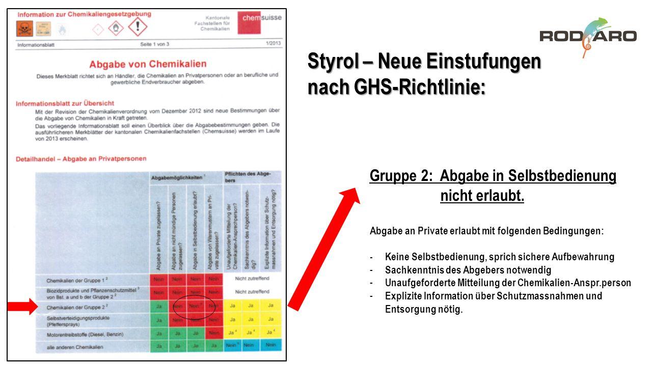 Styrol – Neue Einstufungen nach GHS-Richtlinie: