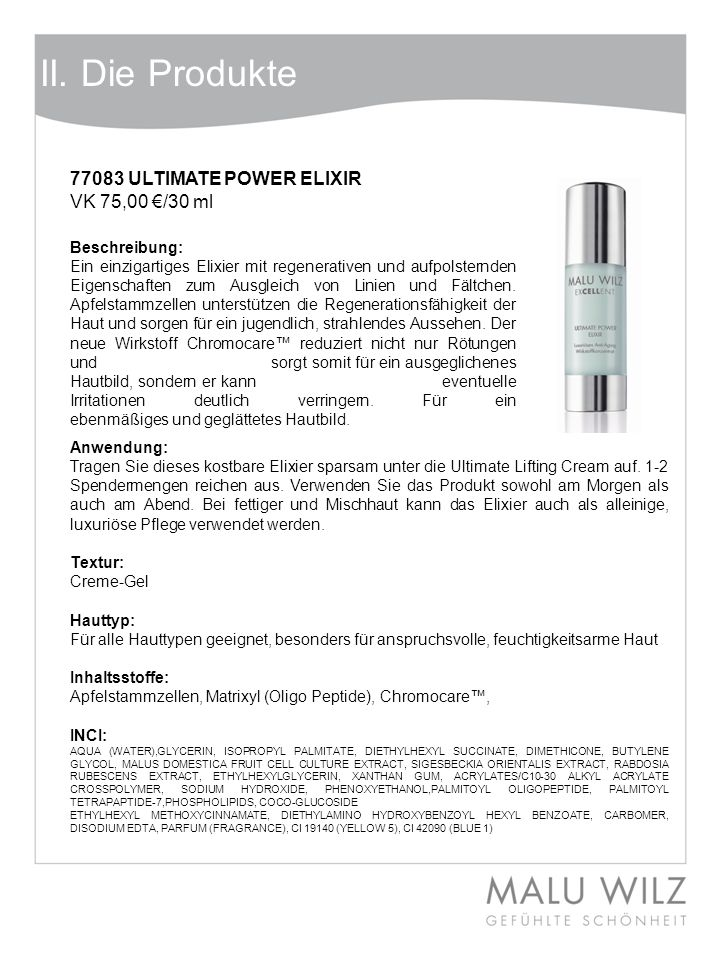 II. Die Produkte 77083 ULTIMATE POWER ELIXIR VK 75,00 €/30 ml