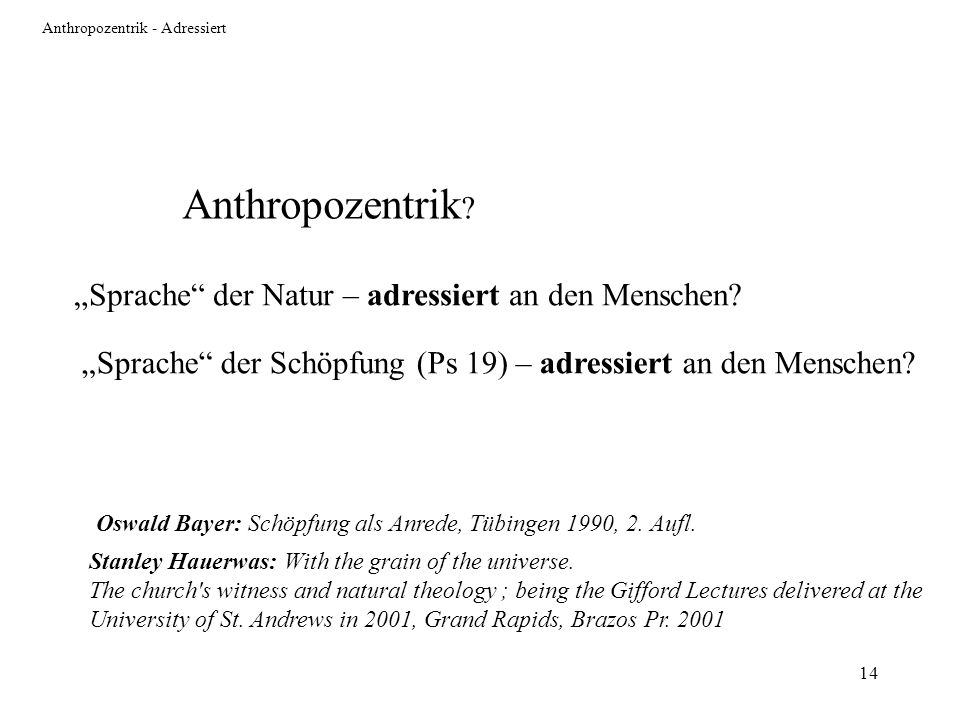 Anthropozentrik - Adressiert