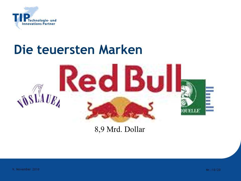 Die teuersten Marken 114,3 Mrd. Dollar 8,9 Mrd. Dollar