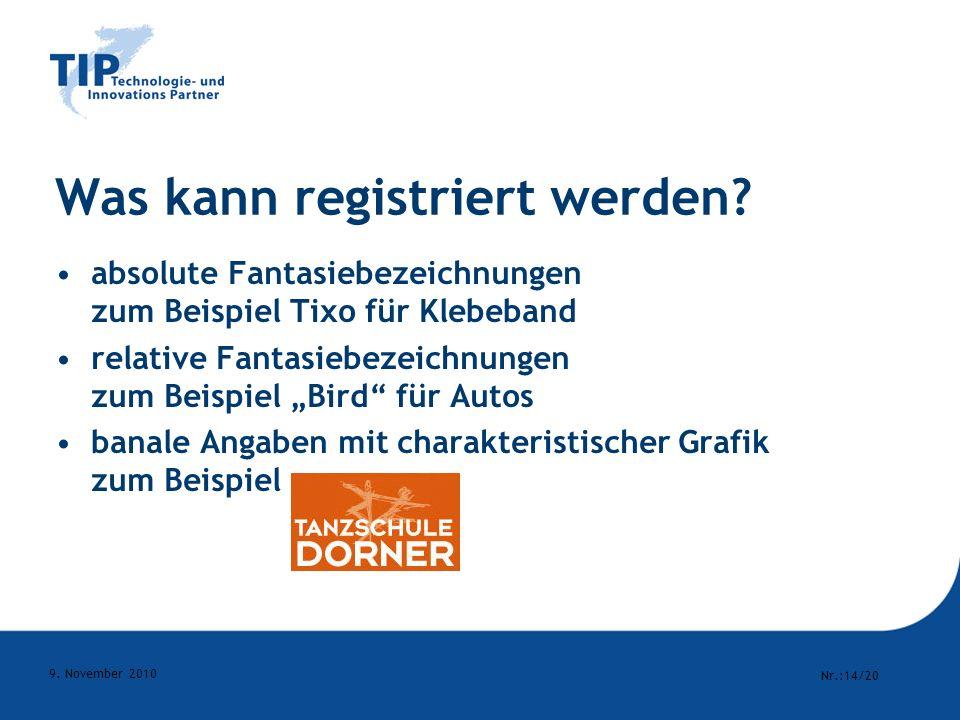 Was kann registriert werden