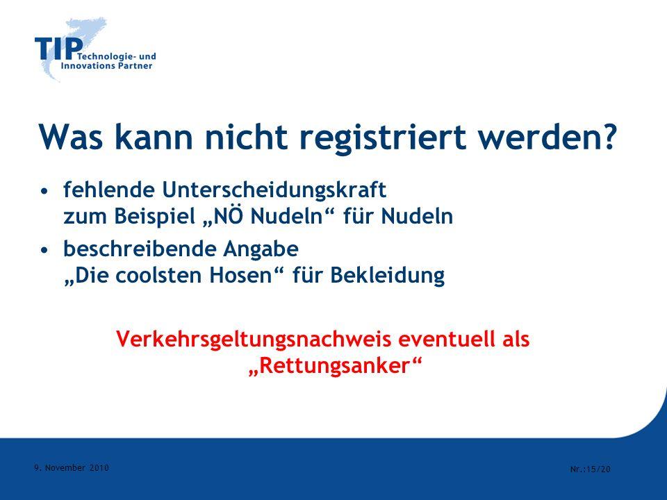 Was kann nicht registriert werden