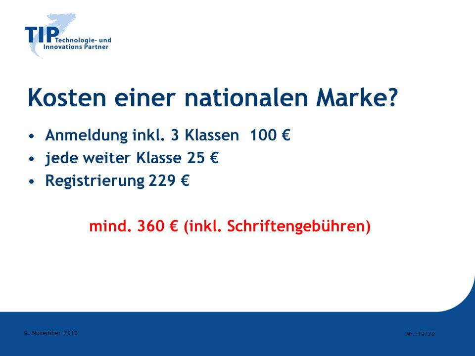 Kosten einer nationalen Marke
