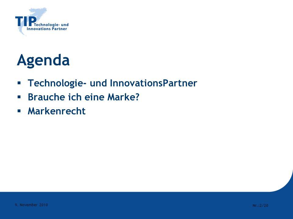 Agenda Technologie- und InnovationsPartner Brauche ich eine Marke