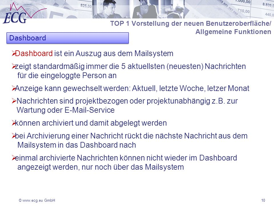 Dashboard ist ein Auszug aus dem Mailsystem