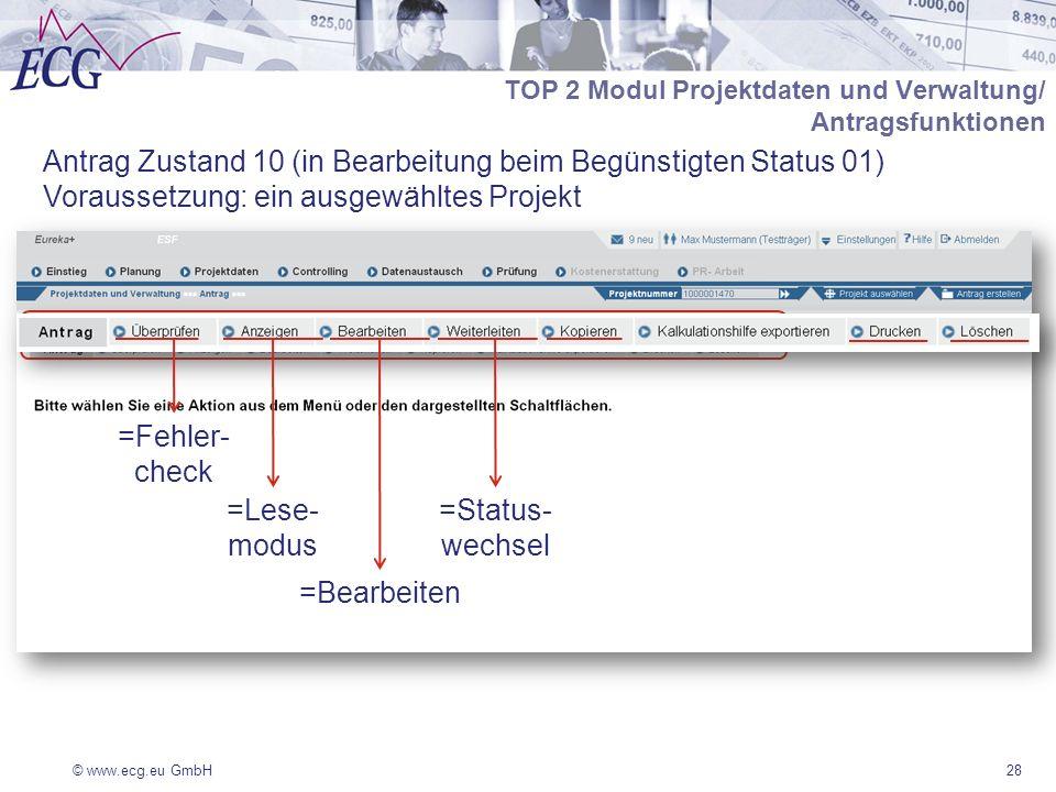 Antrag Zustand 10 (in Bearbeitung beim Begünstigten Status 01)