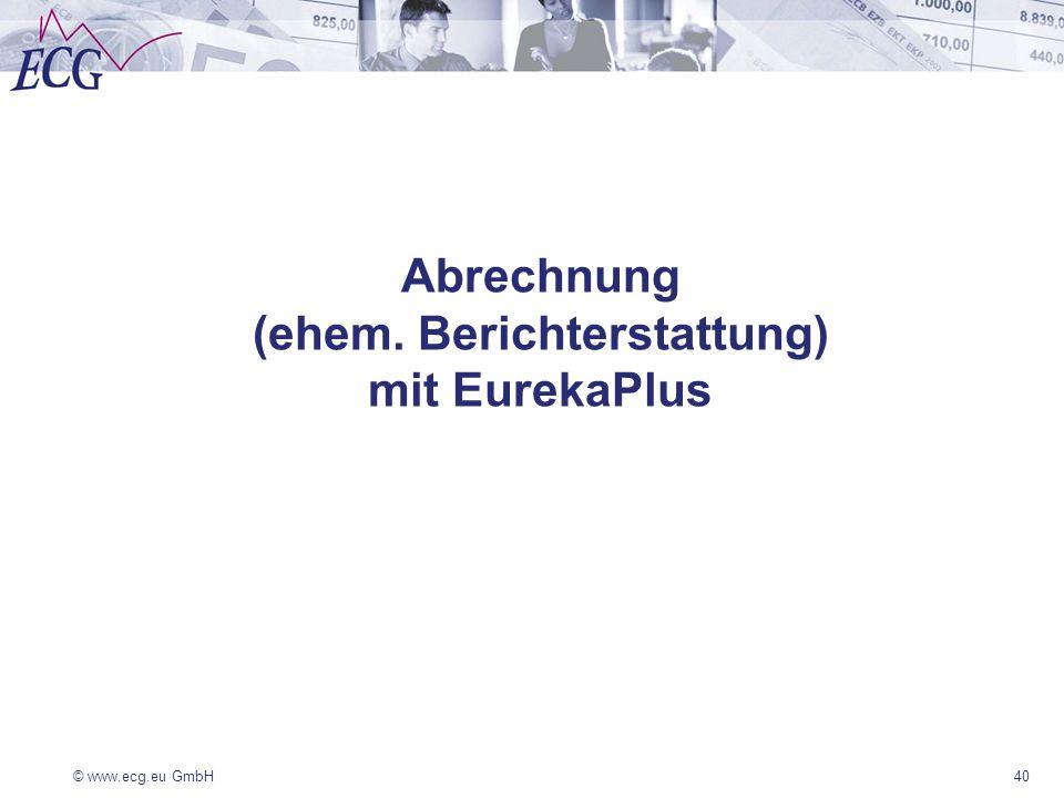 Abrechnung (ehem. Berichterstattung) mit EurekaPlus