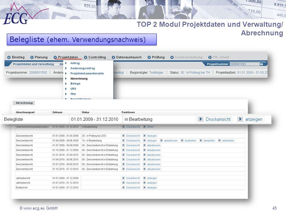 TOP 2 Modul Projektdaten und Verwaltung/ Abrechnung