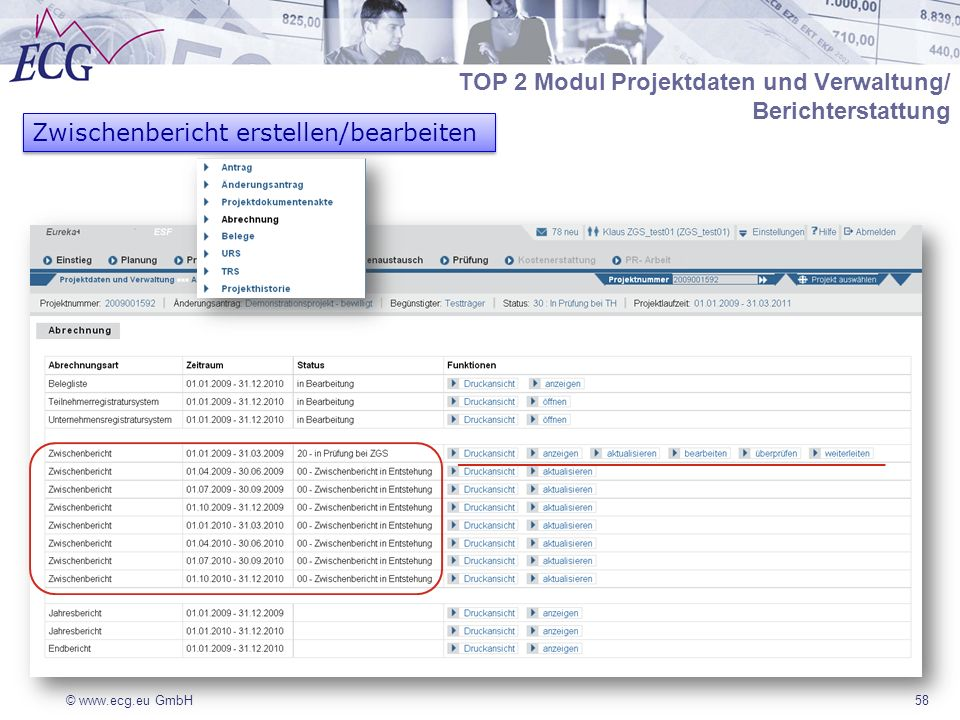 TOP 2 Modul Projektdaten und Verwaltung/ Berichterstattung