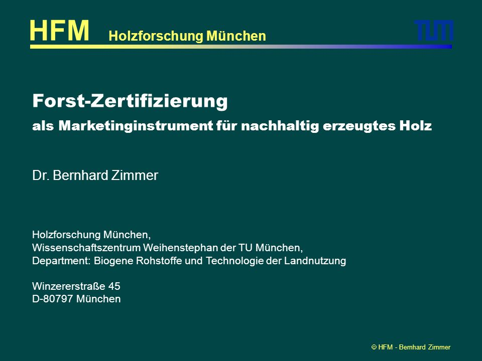 HFM Forst-Zertifizierung Holzforschung München
