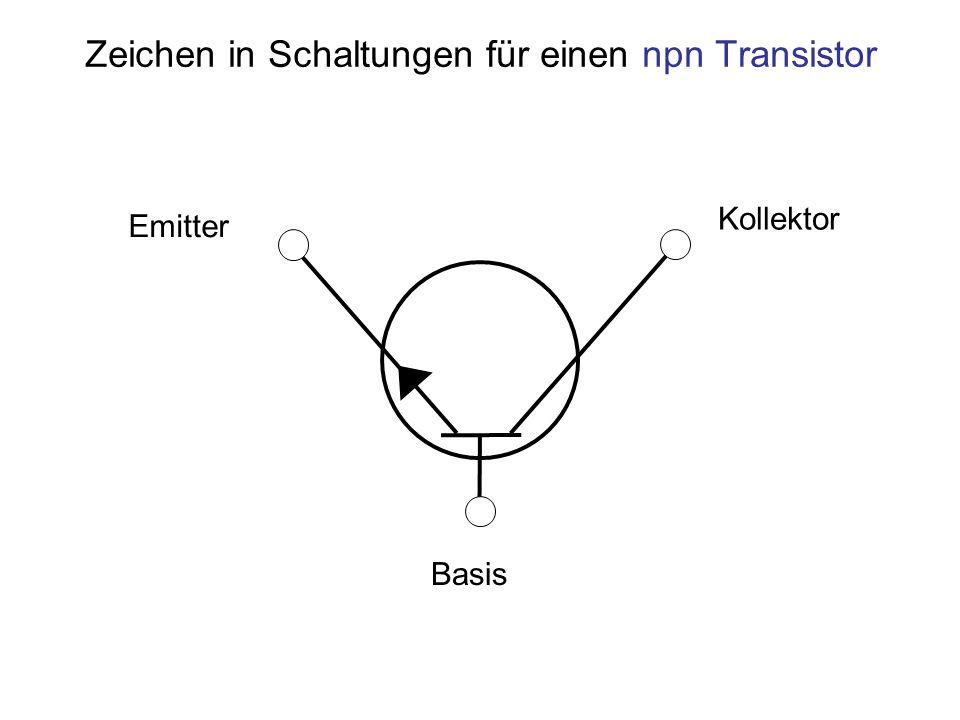 Zeichen in Schaltungen für einen npn Transistor