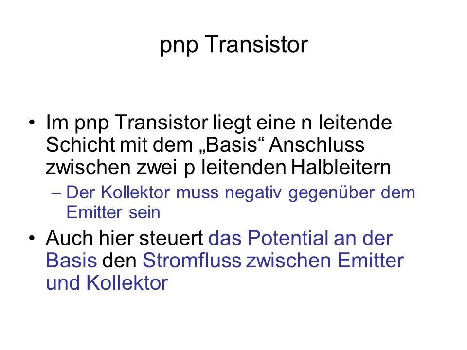 """pnp Transistor Im pnp Transistor liegt eine n leitende Schicht mit dem """"Basis Anschluss zwischen zwei p leitenden Halbleitern."""