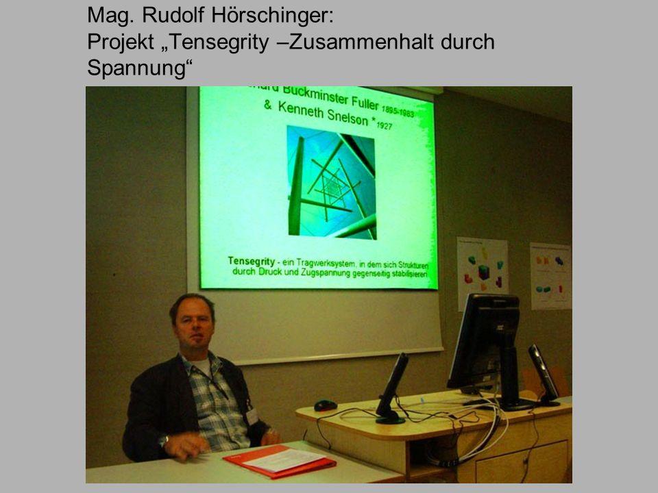 """Mag. Rudolf Hörschinger: Projekt """"Tensegrity –Zusammenhalt durch Spannung"""