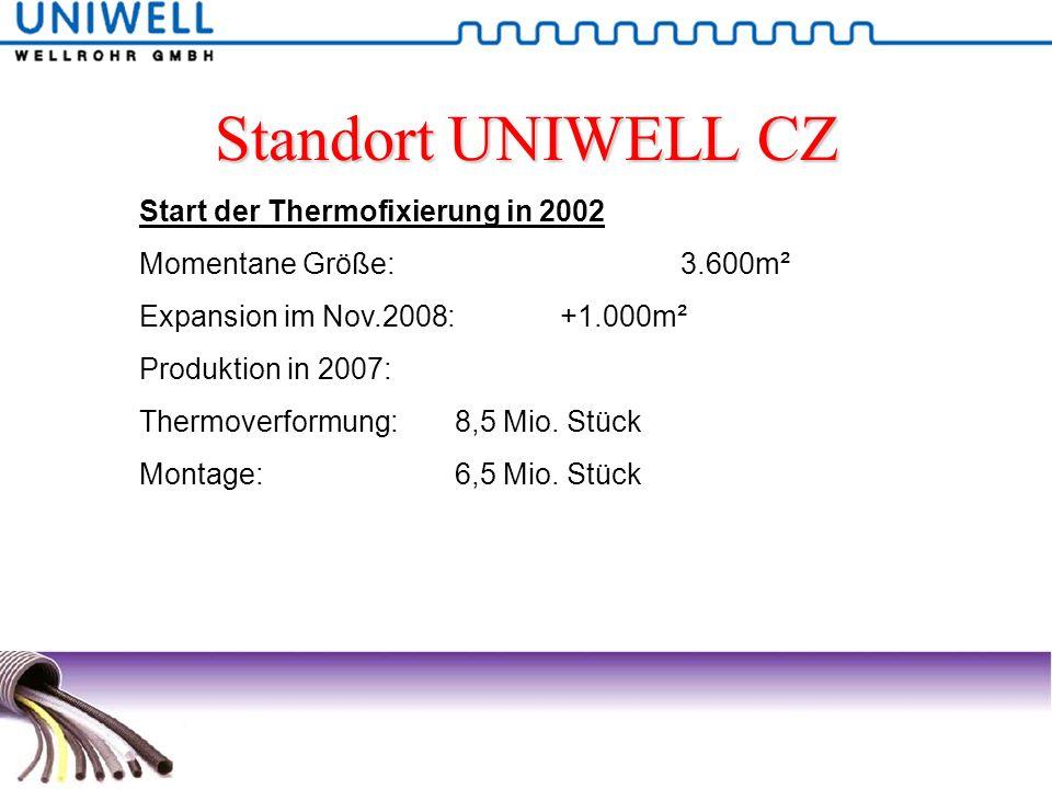 Standort UNIWELL CZ Start der Thermofixierung in 2002