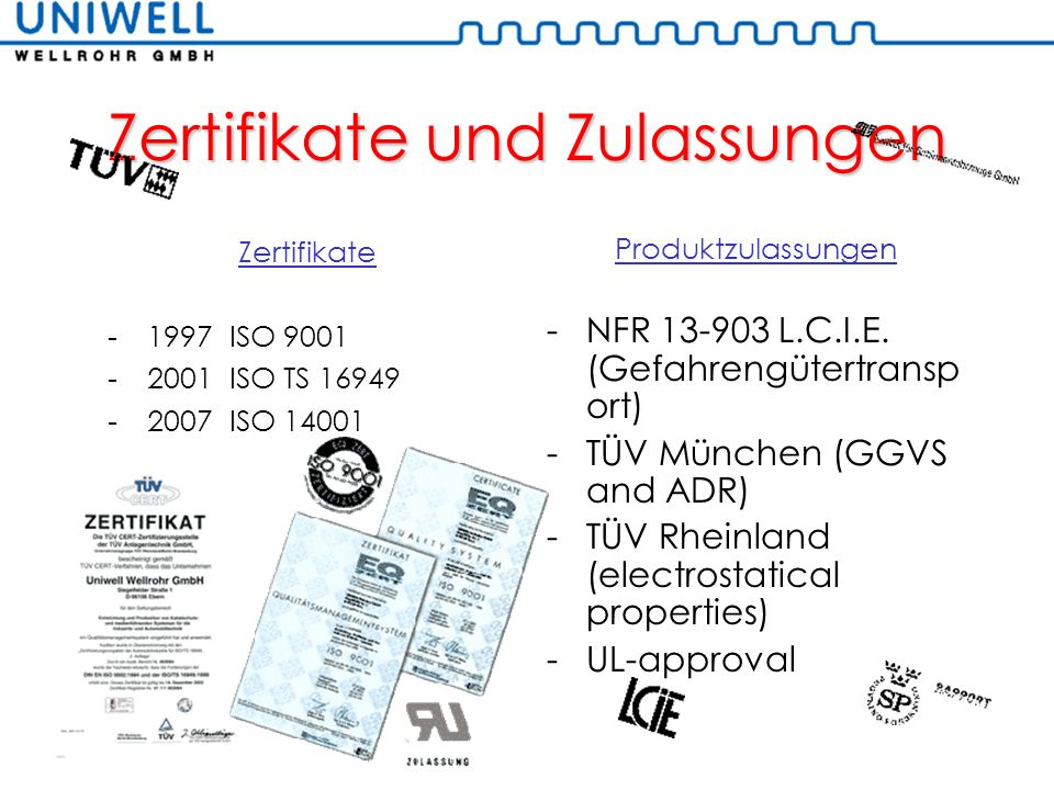 Zertifikate und Zulassungen