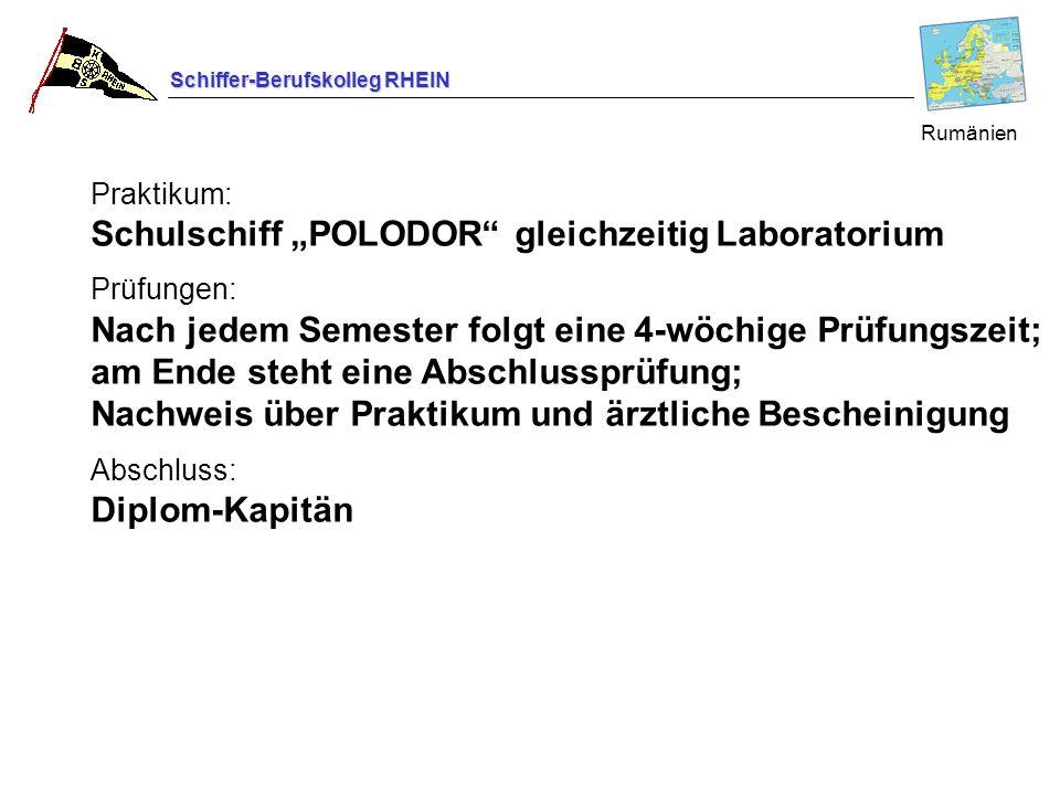 """Praktikum: Schulschiff """"POLODOR gleichzeitig Laboratorium"""