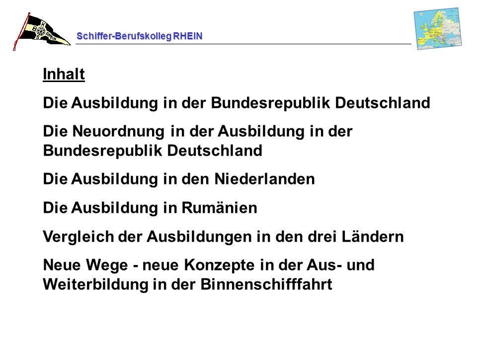 Inhalt Die Ausbildung in der Bundesrepublik Deutschland. Die Neuordnung in der Ausbildung in der Bundesrepublik Deutschland.