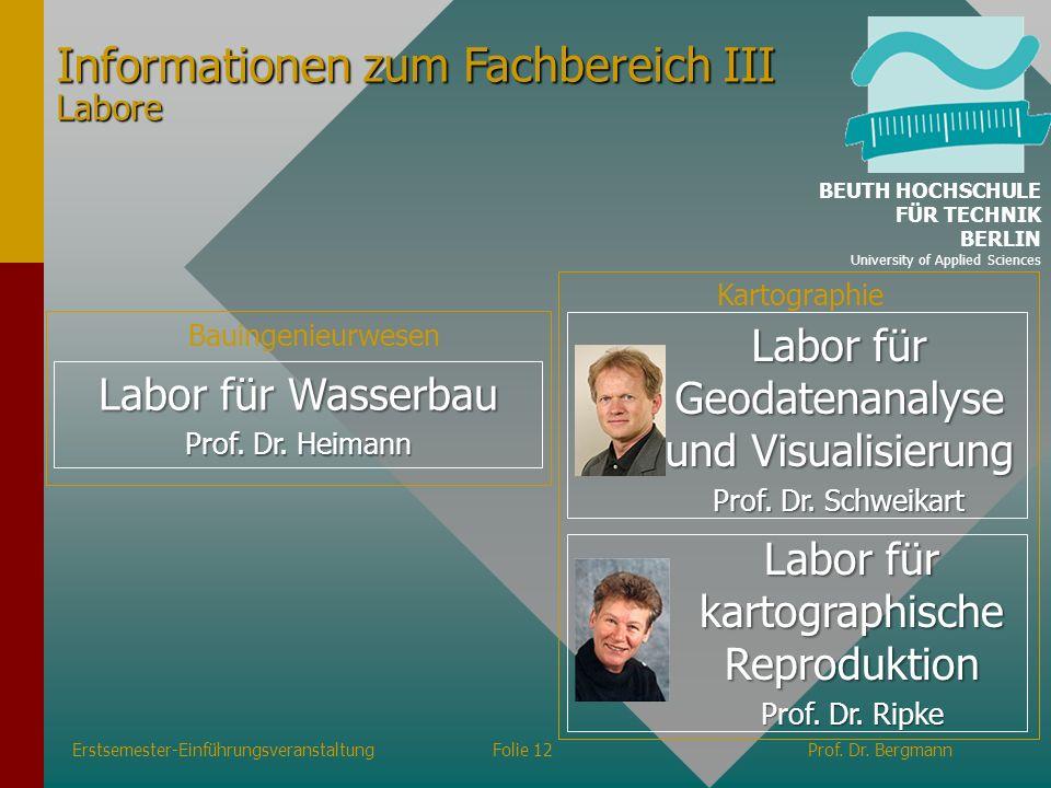 Informationen zum Fachbereich III Labore