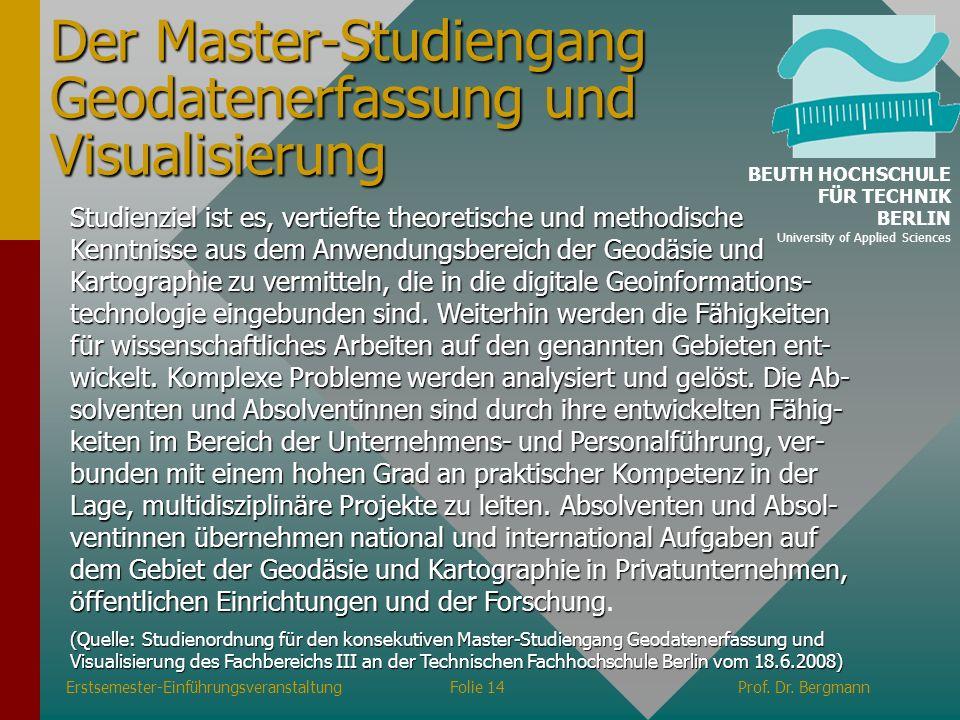 Der Master-Studiengang Geodatenerfassung und Visualisierung