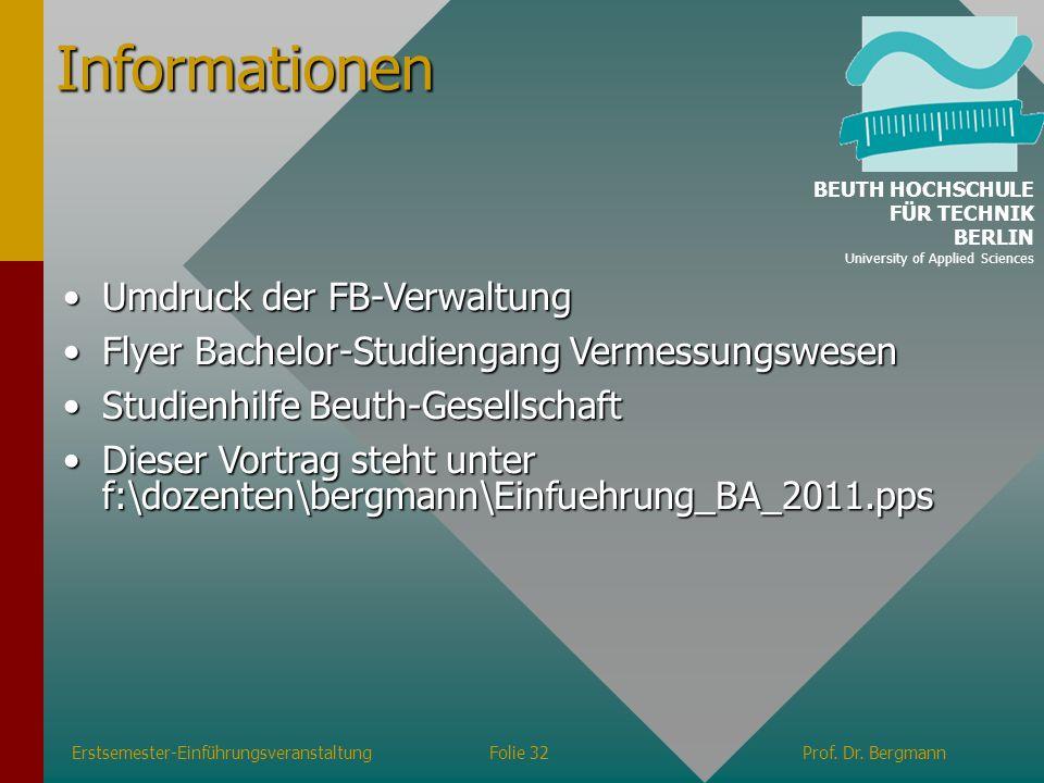Informationen Umdruck der FB-Verwaltung