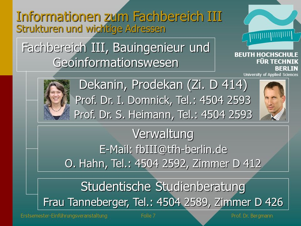 Informationen zum Fachbereich III Strukturen und wichtige Adressen