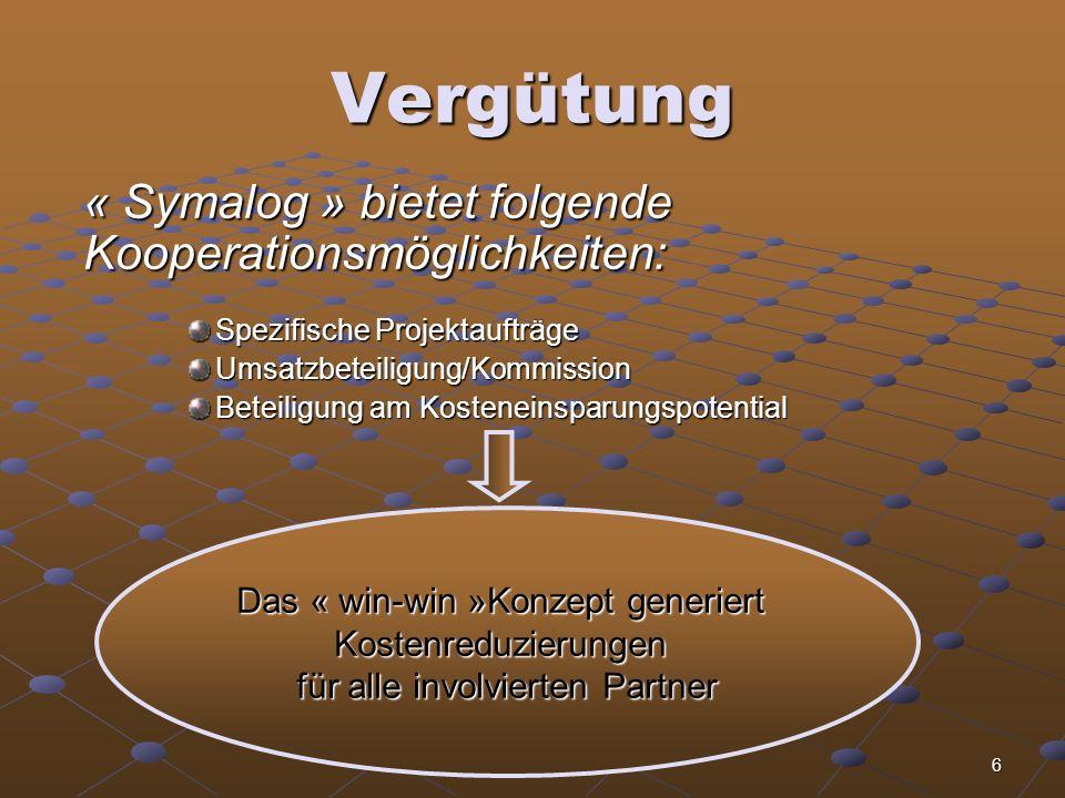 Vergütung « Symalog » bietet folgende Kooperationsmöglichkeiten: