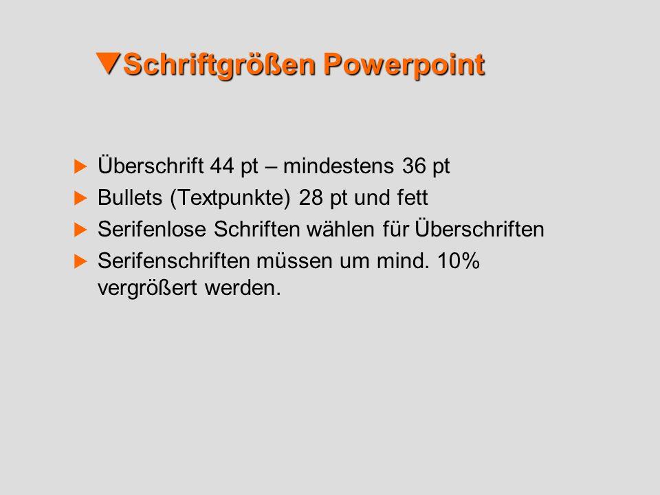 Schriftgrößen Powerpoint