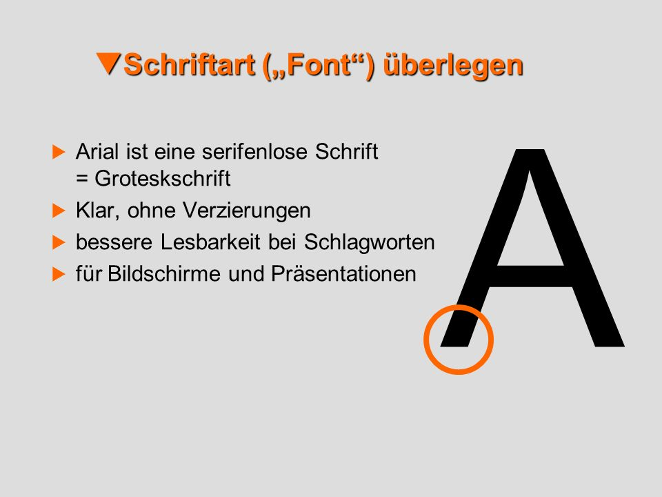 "Schriftart (""Font ) überlegen"